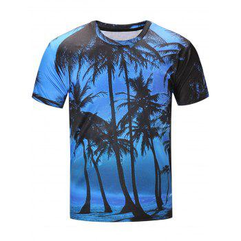 Hawaiian 3D Coconut Tree Print T-Shirt
