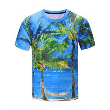 3D Coconut Tree Landscape Print Short Sleeve T-Shirt