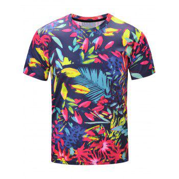3D Florals and Leopard Print Short Sleeve T-Shirt
