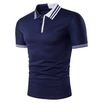 Color Block Stripe Rib Panel Polo T-Shirt
