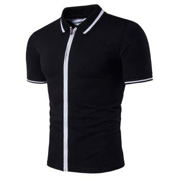 Stripe Rib Panel Zip Up Polo T-Shirt