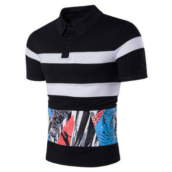 Color Block Splatter Paint Print Panel Stripe Polo T-Shirt