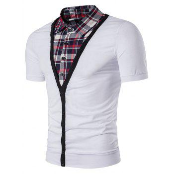 Single Breasted Plaid Shirt Faux Twinset Panel T-Shirt