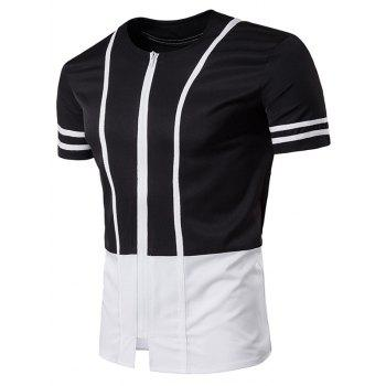 Zip Up Collarless Stripe Selvedge Embellished Longline T-Shirt