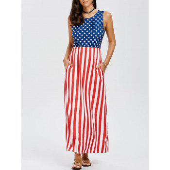 Sleeveless Patriotic American Flag Print Maxi Dress