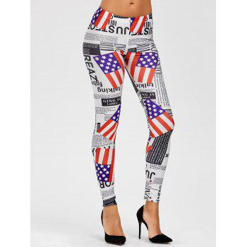 American Flag Graphic Mid Waist Leggings