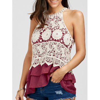 Crochet Panel Flounce Tiered Tank Top