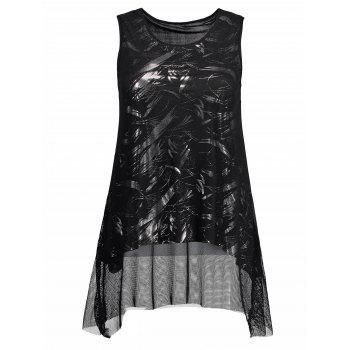 Metallic Mesh Layer Asymmetrical Tank Top