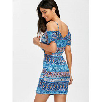 Cold Shoulder Printed Cut Out Dress - COLORMIX COLORMIX