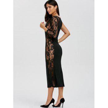 One Sleeve Floral Lace Insert Dress - M M