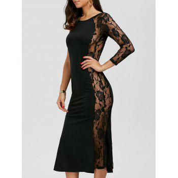 One Sleeve Floral Lace Insert Dress - BLACK M