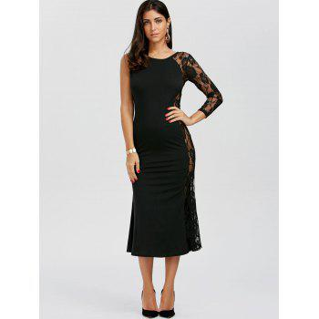 One Sleeve Floral Lace Insert Dress - BLACK BLACK
