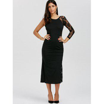 One Sleeve Floral Lace Insert Dress - BLACK XL