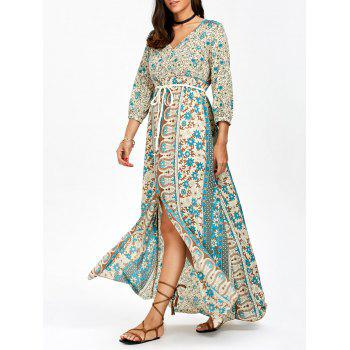 Empire Waist Bohemian Print Chiffon Maxi Dress