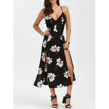 Floral Print Criss Cross Backless Slit Dress