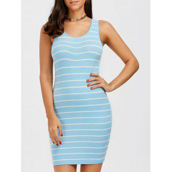 Striped Cotton Short Bodycon Tank Dress