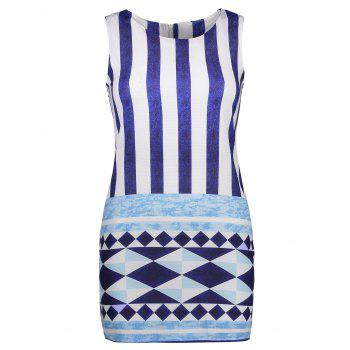 Sleeveless Geometric Print Striped Dress