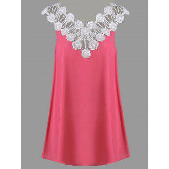 Plus Size Crochet Trim Cutwork Tank Top