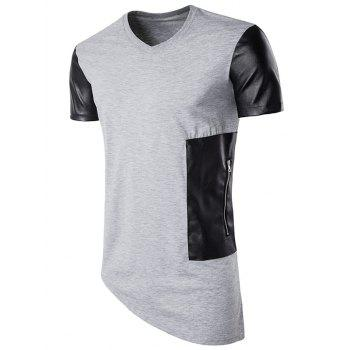 PU Leather Panel Oblique Bottom Longline T-Shirt