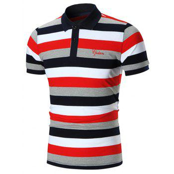 Embroidery Stripes Polo Shirt