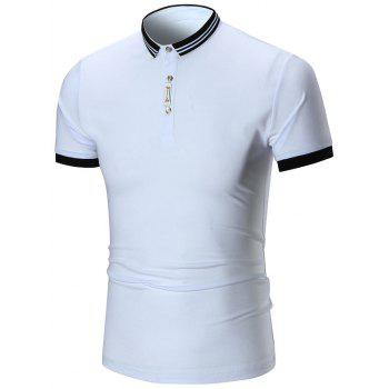Two Tone Half Buttoned Polo Shirt