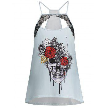 Cut Out Skull Print Plus Size Cami Top