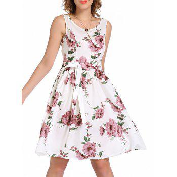 Bowknot Sleeveless Floral Fit and Flare Dress
