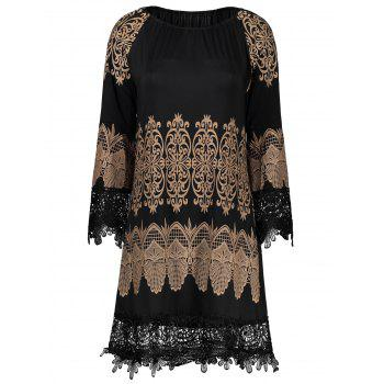 Lace Insert Tribal Print Mini Shift Dress