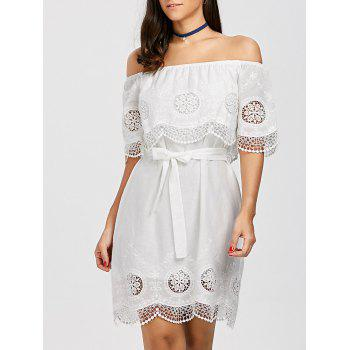 Off The Shoulder Lace Trim Belt Dress