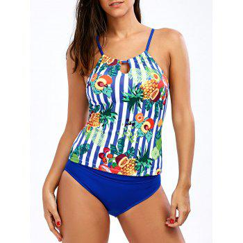 Cross Back Tropical Pineapple Tankini Set