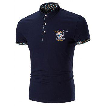 Embroidered Floral Trim Polo Shirt