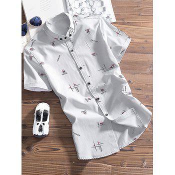 Graphic Printing Button Down Shirt
