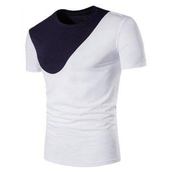 Color Block Panel Curve Bottom Short Sleeve T-Shirt