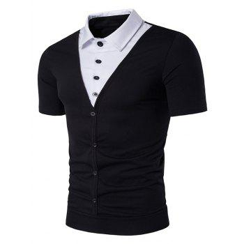 Single Breasted Shirt Faux Twinset Panel T-Shirt