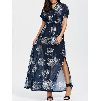 Empire Waist Split Floral Chiffon Maxi Dress