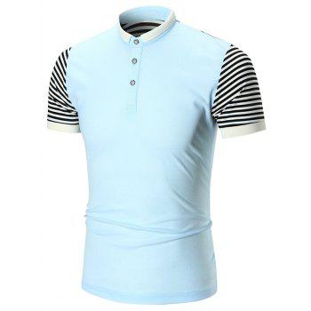 Striped Panel Half Button Polo Shirt