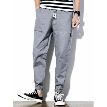 Drawstring Waist Big Pockets Tapered Pants
