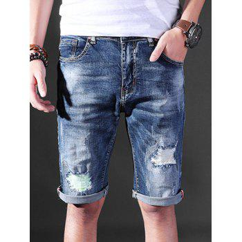 Straight Leg Distressed Denim Shorts