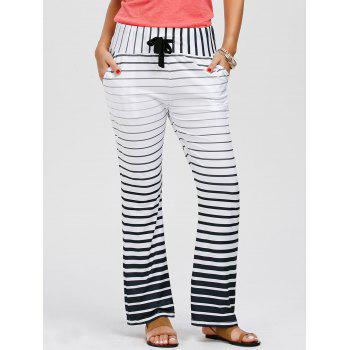 Casual Low-Waisted Drawstring Loose-Fitting Striped Women's Pants - WHITE S