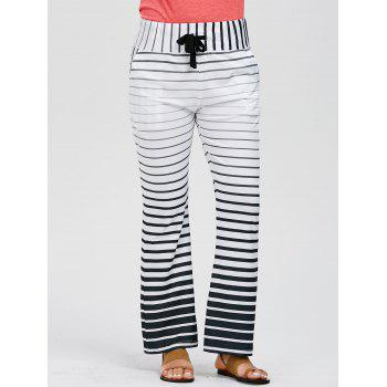 Casual Low-Waisted Drawstring Loose-Fitting Striped Women's Pants - WHITE M