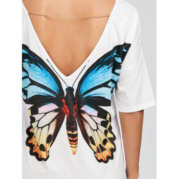 Chain Insert Backless Mini Butterfly Print Dress - WHITE S