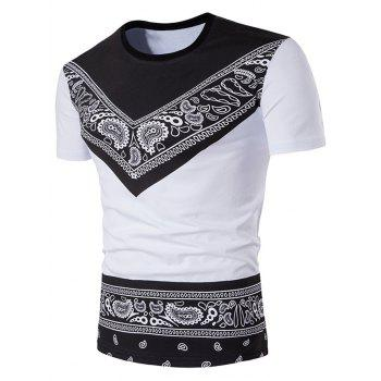 Color Block Tribal Paisley Print Short Sleeve T-Shirt