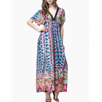 Plunge Snakeskin Print Empire Waist Maxi Dress