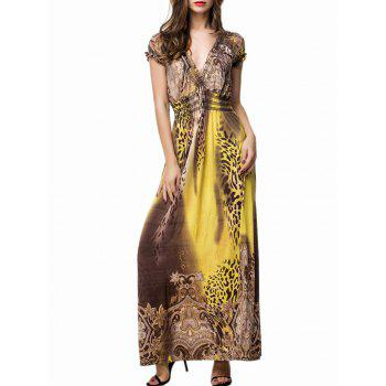 V Neck Printed Maxi Beach Dress