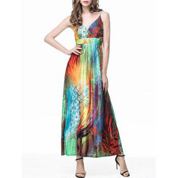 Feather Print Empire Waist Maxi Slip Dress