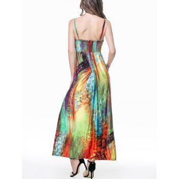 Feather Print Empire Waist Maxi Slip Dress - COLORMIX XL