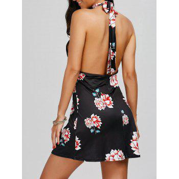 Open Back Floral Print Halter Dress