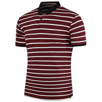 Contrast Trim Stripe Polo Shirt