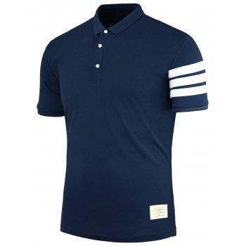 Patch Stripe Polo Shirt