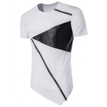 PU Leather Panel Zippers Design Asymmetrical T-shirt